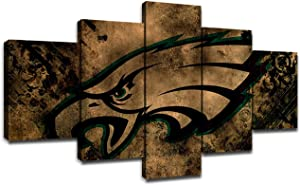 Philadelphia Eagles Team LogoWall Decor Football Art Paintings 5 Piece Canvas Picture Artwork Living Room Prints Poster Bedroom Decoration Wooden Framed Ready to Hang(60''Wx32''H)