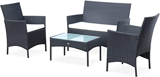 Alices Garden - Muebles de Jardin, Conjunto Sofa de Exterior, Resina Trenzada, Negro Crudo, 4 plazas: Amazon.es: Jardín