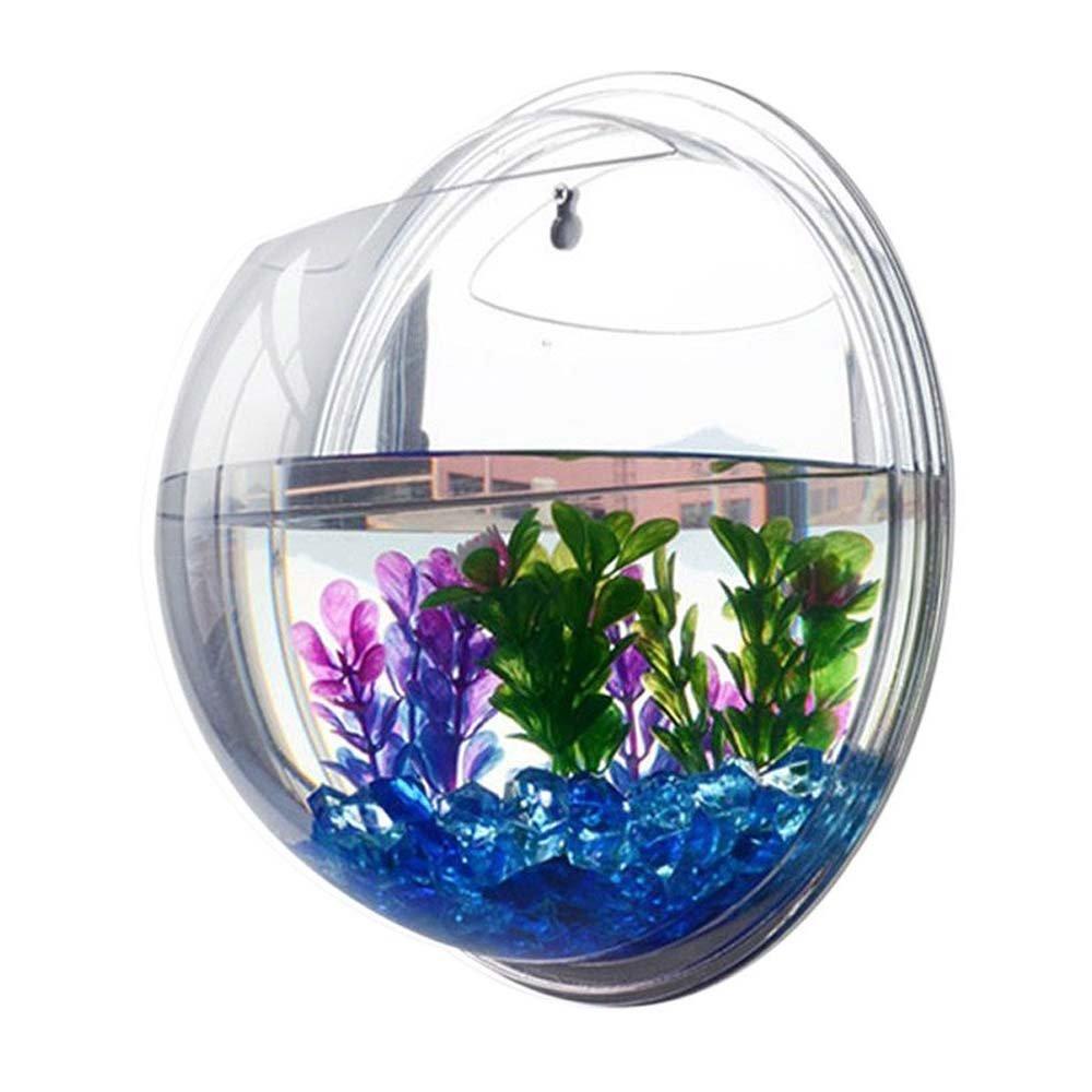Surlan Hanging Fish Tank Bowl, Creative Acrylic Wall Mount Fish Tank Bowl Vase Aquarium Plant Pot Fish Bubble Aquarium Home Decoration Diameter 23cm/9inch