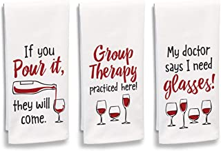 """product image for Imagine Design Relatively Funny If You Pour It, They Will Come, Group Therapy Practiced Here, 3-Pk Assortment Heavy Weight 100% Cotton Kitchen Towels, 18"""" x 28"""", Red/Black/White"""