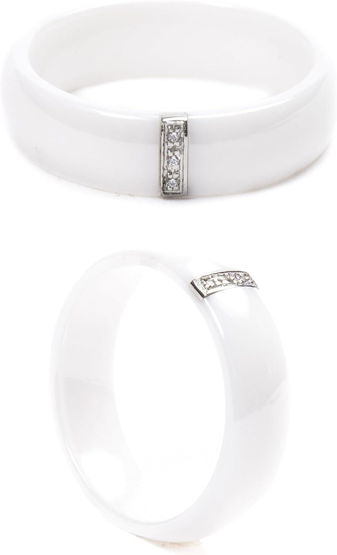 couleur et taille optionnel AURSTORE/® Bague anneaux C/éramique Acier Inoxydable 6mm serti de pierre Oxyde de Zirconium Homme Femme