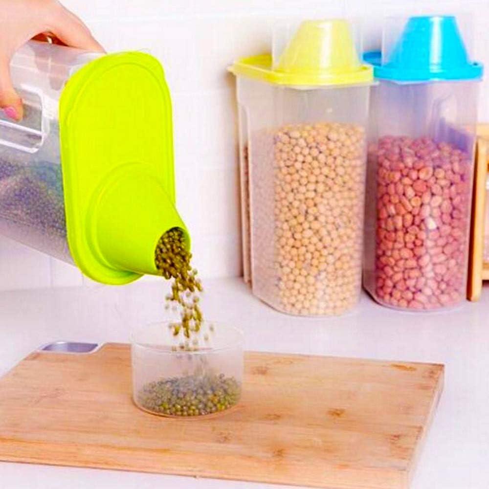 Contenedor de cereales Hebudy herm/ético dispensador de cereales caja de almacenamiento de alimentos secos contenedor de cereales con tapas 2,5 l amarillo contenedor de almacenamiento de alimentos