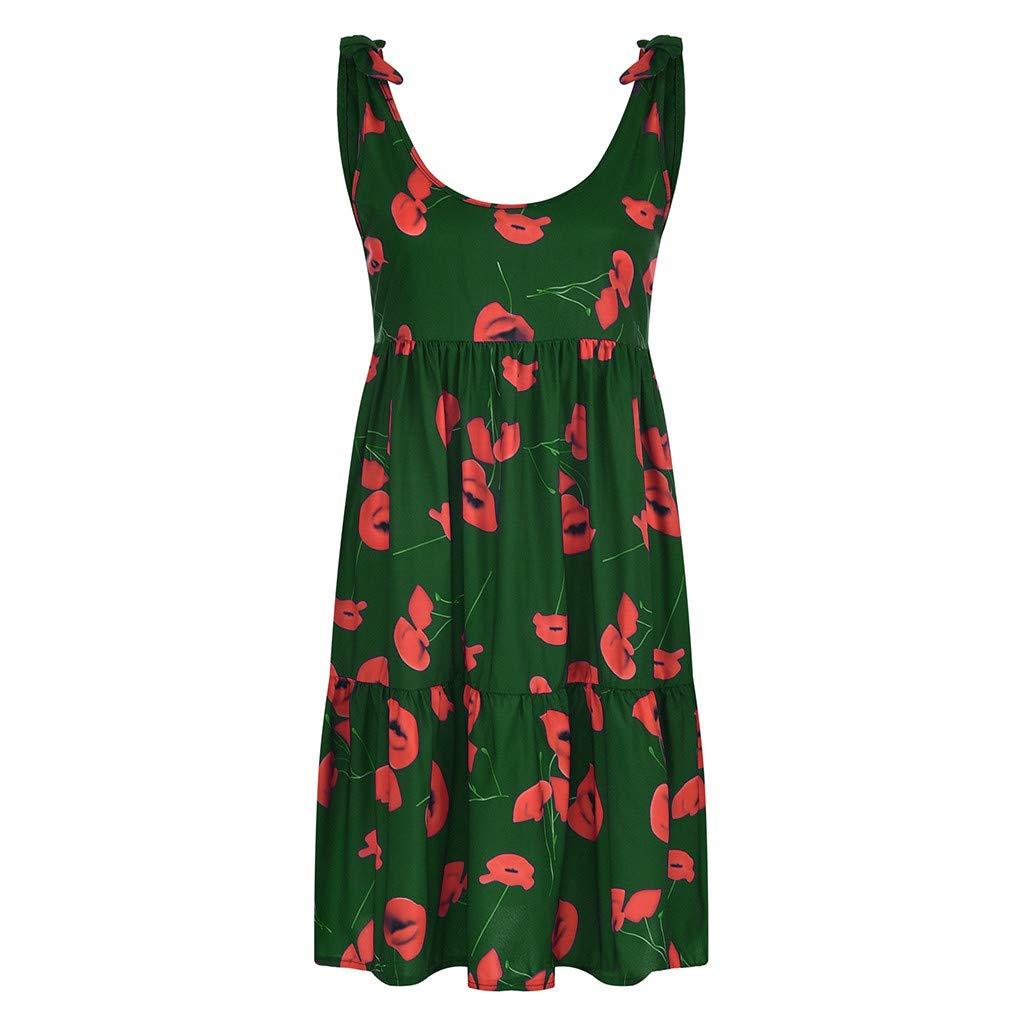 Wave166 Vestido de Moda de Las Mujeres Rayas causales Gasa ...