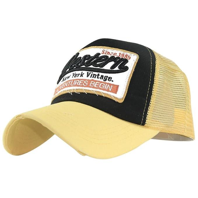 ☀ Gorras de béisbol,Gorra de verano bordada Sombreros de malla para hombres Mujeres Sombreros casuales Hip Hop (Amarillo): Amazon.es: Ropa y accesorios