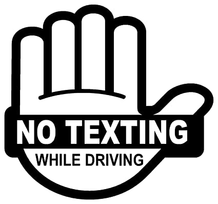 No texting while driving sticker