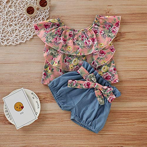 Womola 2PCS Fashion Toddler Kids Baby Girl Clothes Outfit Sleeveless Floral Frilled Top Bowknot Denim Shorts Set