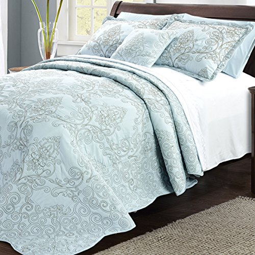 Serenta Damask 4 Piece Bedspread Set, King, Blue - Embroidered Bed