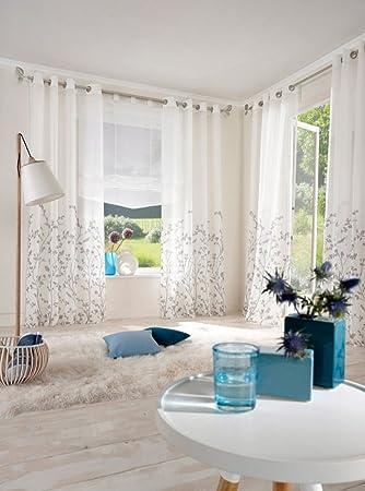Amazon.com: Uphome 1-Pair Wavy Leaves Vine Window Sheer Curtain ...