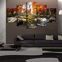 hhlwl Home Decor Wall Art Poster 5 Pannello Autunno Natura Lago Foresta Cascata Paesaggio Soggiorno HD Canvas stampa immagini-20x35/45/55cm-frame