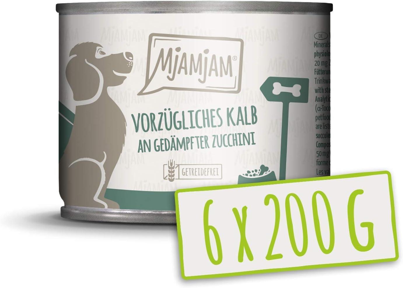 MjAMjAM - Pienso acuoso para Perros - Exquisita Ternera con calabacín al Vapor - Natural - 6 x 200 g