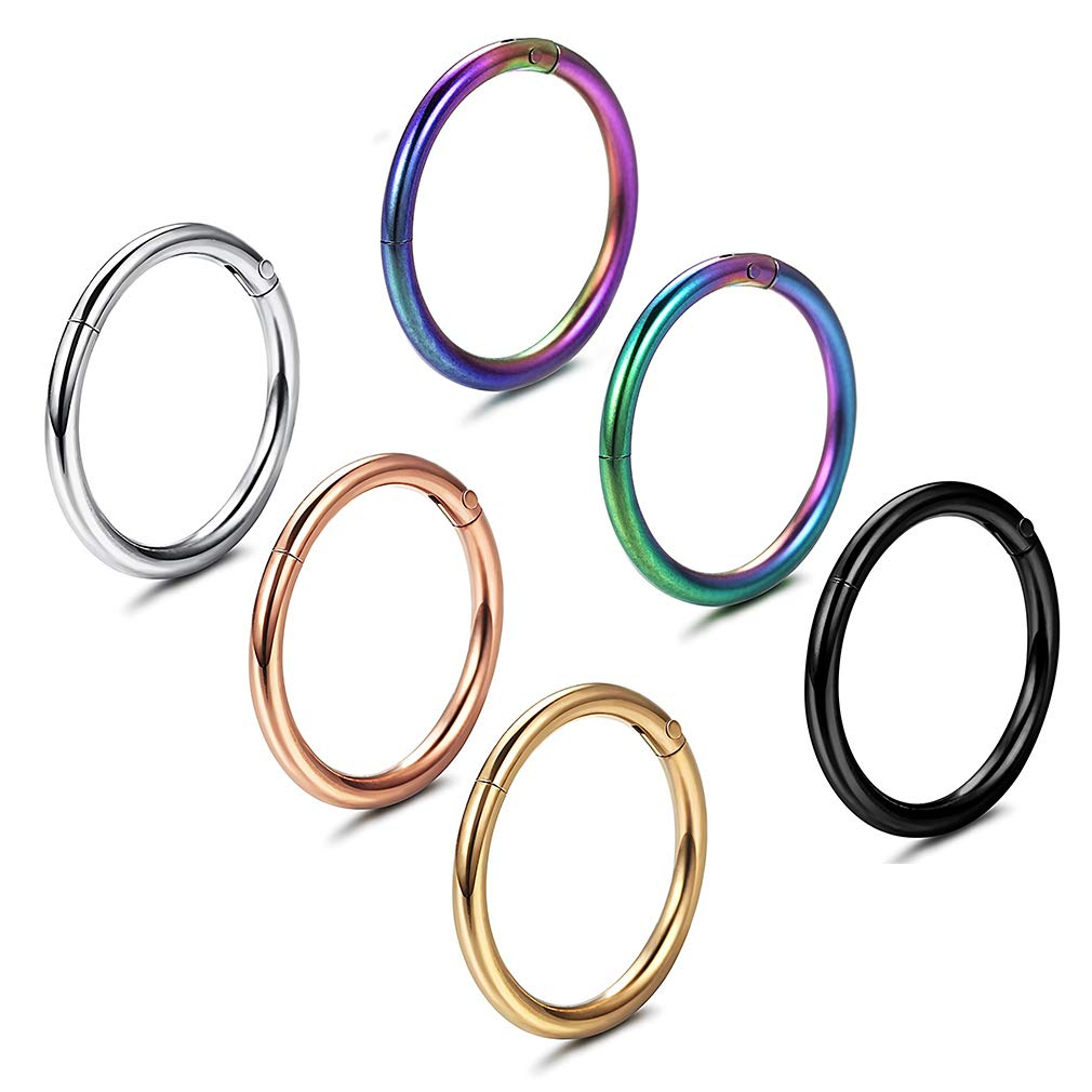 GAUSKY 6Pcs Nose Rings 316L Steel Nose Hoop Lip Rings Earrings (6 Colors) by GAUSKY