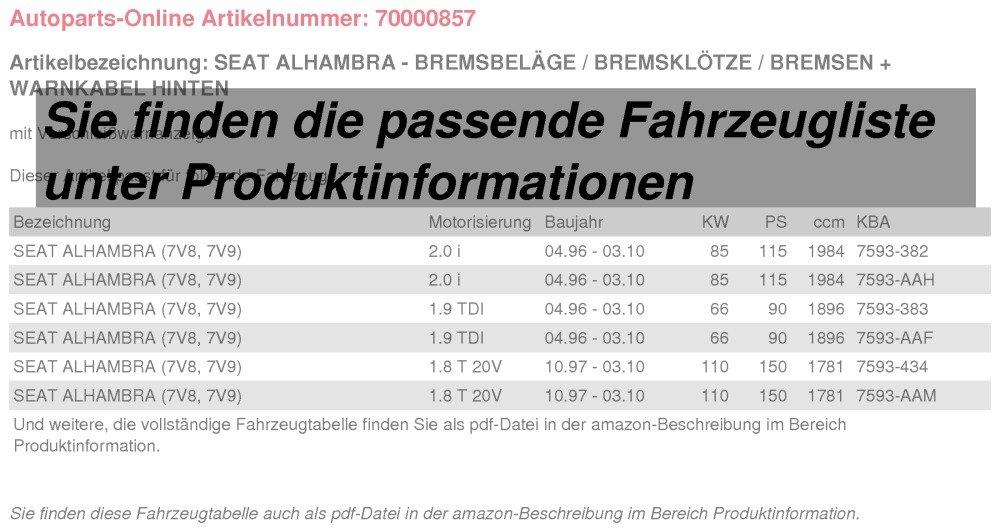Bremsbel/äge//Bremskl/ötze//Bremsen Warnkabel f/ür vorne