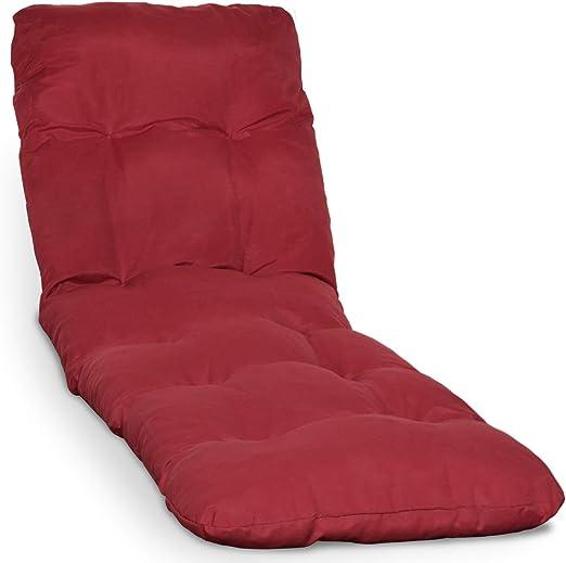 Beautissu Cojín colchón Flair RL Acolchado para Tumbona de jardín y Playa 190x60x8cm Copos de gomaespuma - Rojo: Amazon.es: Jardín