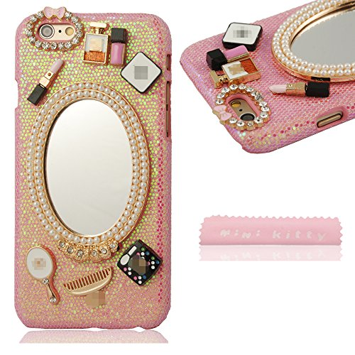 MINI KITTY PINK Luxury Handmade 3D Mirror & Fashion Accessories Diamond Crystal Bling Case Cover for iphone 6 (4.7 inch)+free microfiber cloth