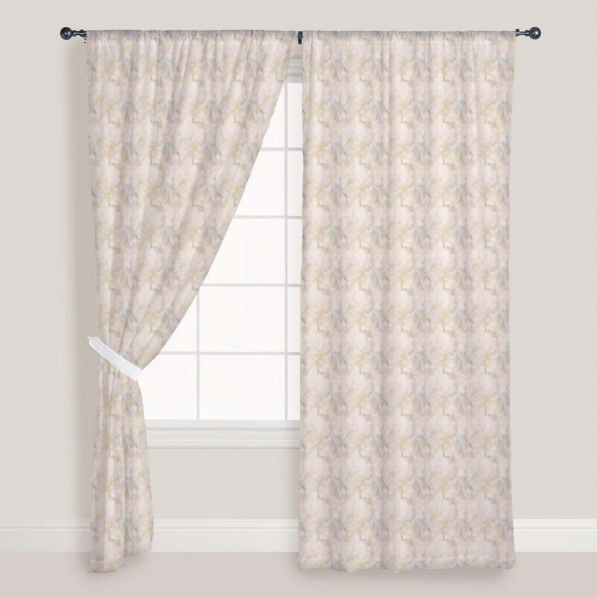 AZ Pink & Peach Marble Door & Window Curtain Satin 4feet x 9feet; SET OF 3 PCS