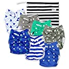 Nautical Baby Cloth Pocket Diapers (7 Pack) with 7 Bamboo Inserts and 1 Wet Bag for Boy or Girl by Nora's Nursery