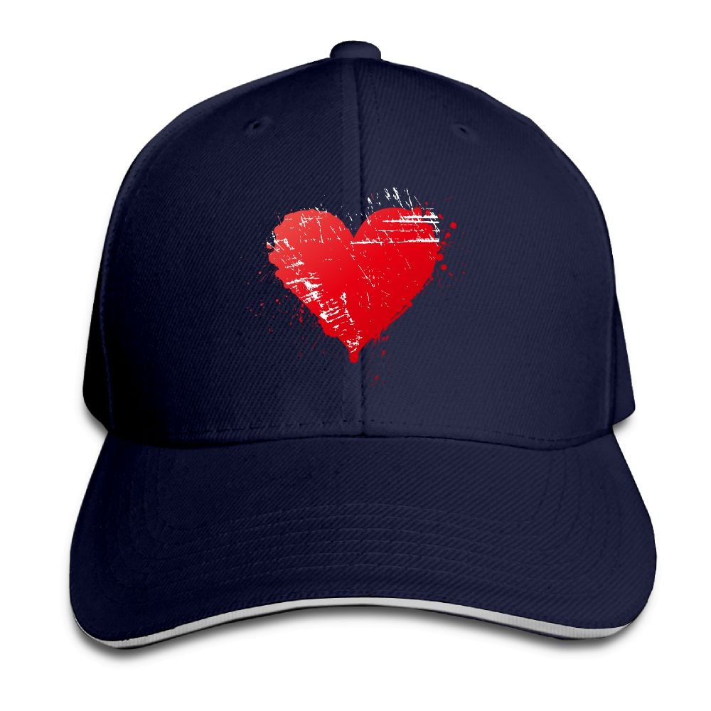 Unisex Red Heart Love Art Sandwich Peaked Cap Adjustable Cotton Baseball Caps