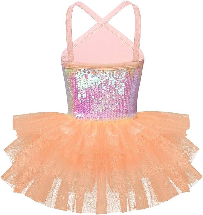 Freebily Ballerina Danza Classica Abito Balletto Bambina Paillettes Top con Molletta Capelli Fiore Bracciale in Tulle Lago dei Cigni Costume Carnevale Principessa Tutu