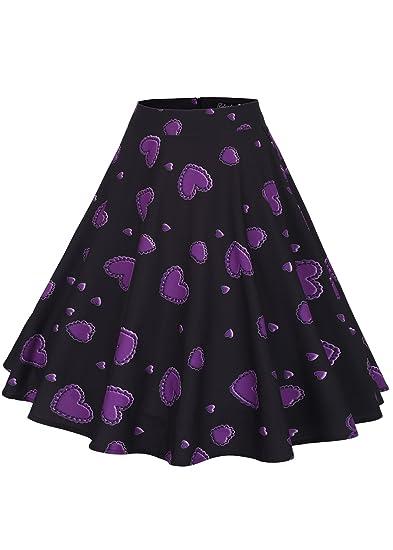 5a8fb9c5a Ruiyige Women's High Waist Floral/Polka Dots Print Pleated Skirt Midi  Skater Skirt: Amazon.ca: Clothing & Accessories