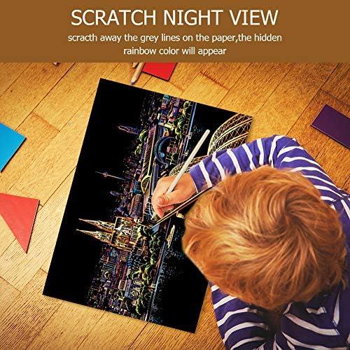 スクラッチアート スクラッチ塗装 はがき 削るだけで美しいアート 塗り絵 ペーパーアート(ビクトリアハーバー)(40.5x28.5cm)