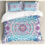 Mandala Queen Size Duvet Cover Set by Ambesonne, Medallion Design Floral Patterns and Leaves Boho Hippie Style Prints, Decorative 3 Piece Bedding Set with 2 Pillow Shams, Turquoise Pink and Purple