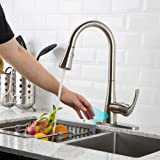 Touchless Kitchen Faucet with Pull Down Sprayer, Kitchen Sink Faucet with Pull Out Sprayer, Single Hole and 3 Hole Deck Mount, Single Handle For Automatic Motion Sensor, Brushed Nickel, FORIOUS