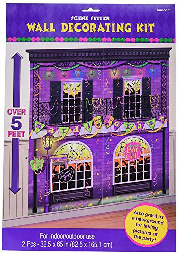Mardi Gras Party Scene Setters Wall Decorating Kit, 65 x 65, Pack of 6 (Mardi Gras Decorating)