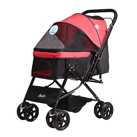 GUO@ Cochecito para mascotas, carretilla plegable de cuatro ruedas, suspensión, conmutación,