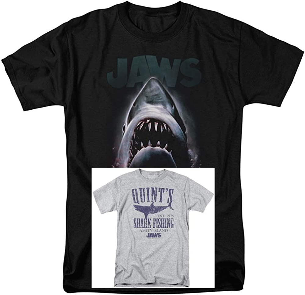 2 Pack Combo Jaws Movie & Quints Classic Retro Vintage Men's Adult Graphic T-Shirts