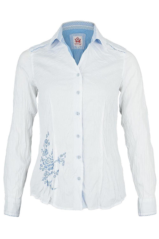 Damen Spieth & Wensky Bluse Crash-Optik weiß-hellblau Stickerei, weiß-blau,