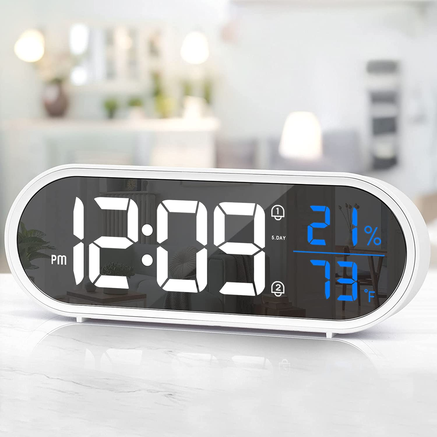 Digital Alarm Clock for Bedroom, LED Desk Clock Large Display, White Alarm Clock with USB Charger, Dual Alarm Clock with Temperature and Humidity, Snooze & Weekend Mode