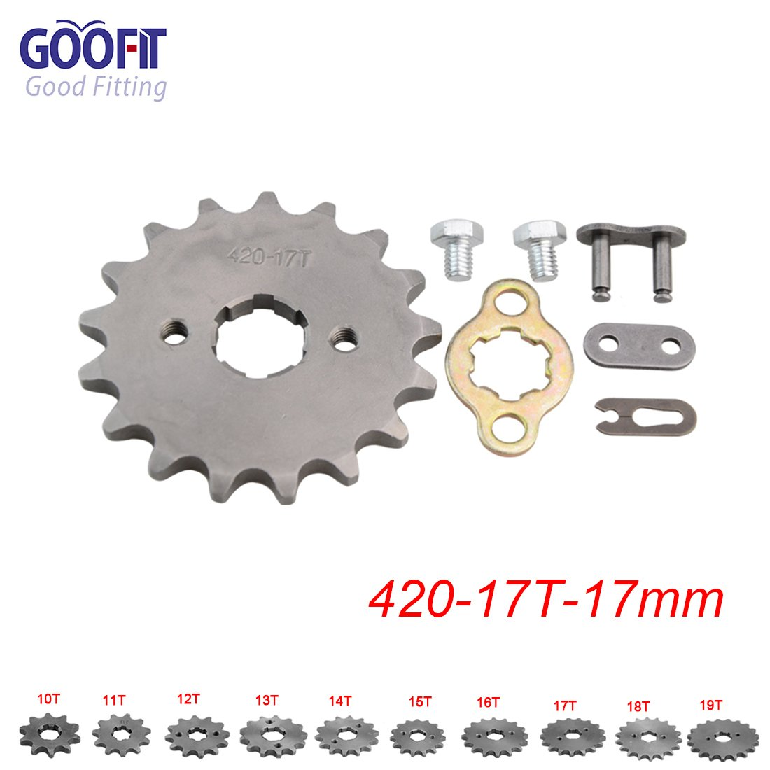GOOFIT 420 15 17mm Tooth Front Engine motorcycle Sprocket Chain Retainer Plate LockerEngine For 50cc 70cc 90cc 110cc Motorcycle Dirt Bike ATV Quad