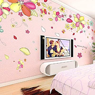 "Amaonm® 51""x102"" Giant Huge Lovely Cartoon Pink Nursery Flowers Vines Wall Decal Wall Stickers Murals Wallpaper for Kids Girls Bedroom Living Room Offices Nursery Classroom Background Wall Decorations"