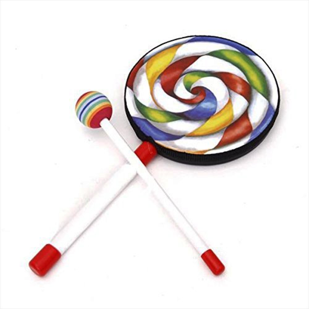 Jooks Lollipop Drum Lolipop Shape Drum Kids Hand Drum With Mallet Musical Sound Toy Musical Instruments for Kids Colorful