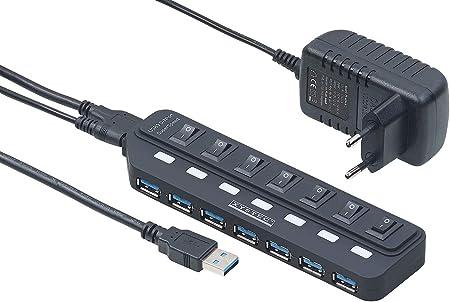 HUB 3.0 7-Port USB Hub Verteiler mit Netzschalter für-Computer.Peripheriege/_ YJ