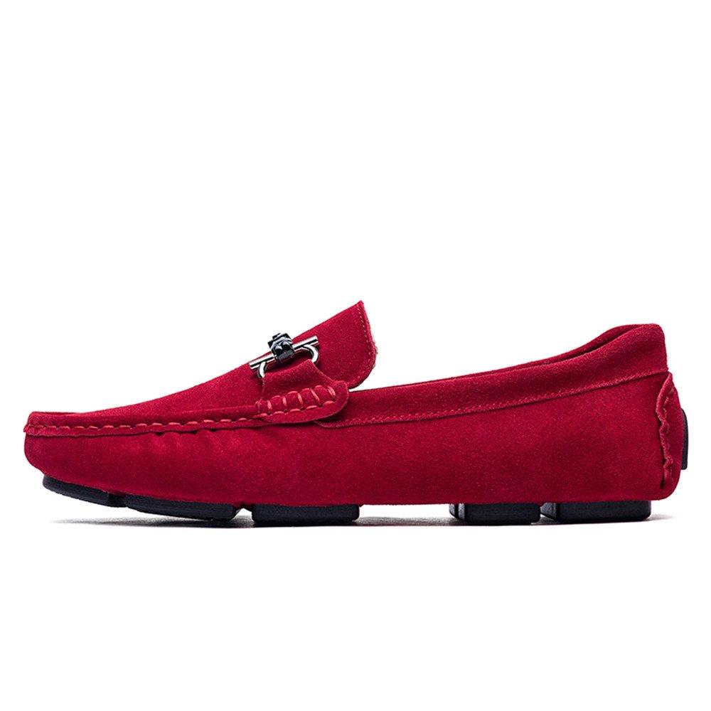 Mocasines de conducción para Hombres Estilo de Lijado de Cuero Casual y Mocasines Huecos Antideslizantes Respirables Huecos de Barco: Amazon.es: Zapatos y ...