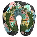 Raglan Carnegie Mountain Antique Compass Neck Head Support Travel Rest U Shaped Pillow for Airplane Train Car Bus Office