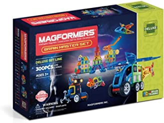 Amazon.com: Magformers Brain Master (300 Piece) Deluxe Magnetic Building Blocks, Educational Magnetic Tiles Kit , Magnetic Construction STEM Toy Set: Toys & ...
