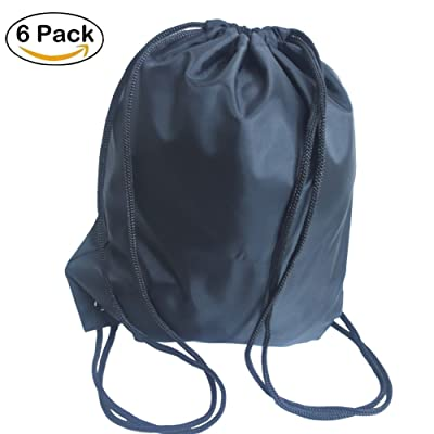 6 Pack Drawstring Bag Backpack Sack Cinch Gym Bags for Sports Travel Shopping School Home Storage Use