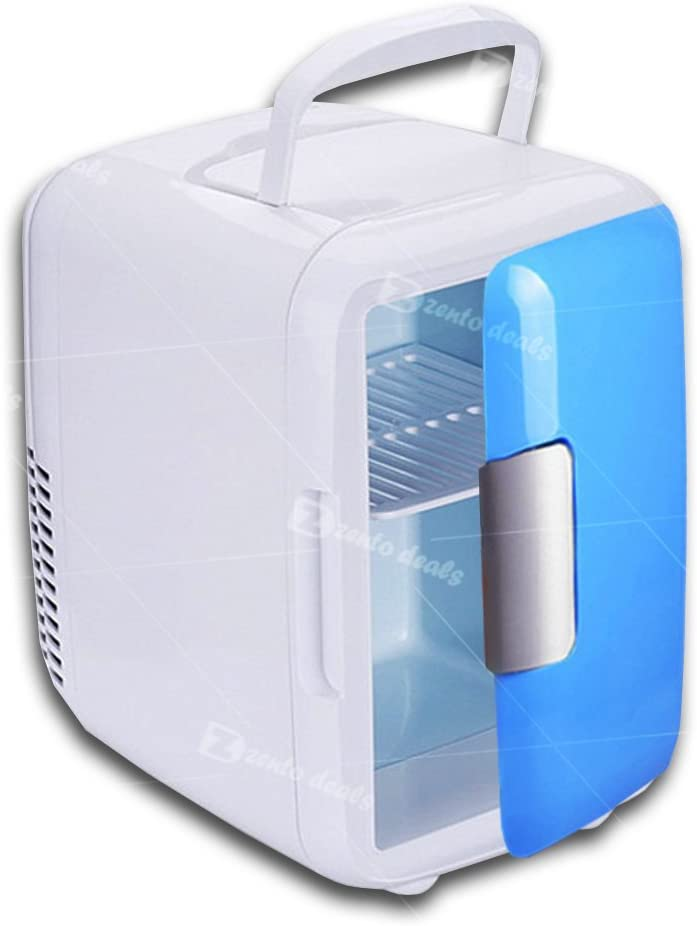 Picnic and The Likes Zento DealsMini Fridge12V Cooling and Warming Functions Durable and Handy AC//DC Thermometric System Blue Mini Fridge for Car Camping