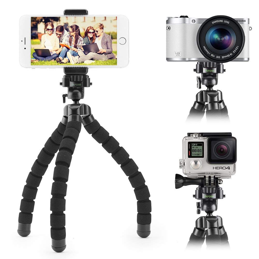 Smartphone Flexible Tripod iKross Compact Tripod Stand Mount Holder with Adapters for Smartphone, iPhone/Digital Camera/GoPro Hero All Version 885157812726