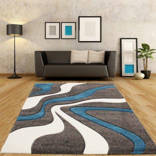 designer teppich mit konturenschnitt modern grau türkis weiss ...