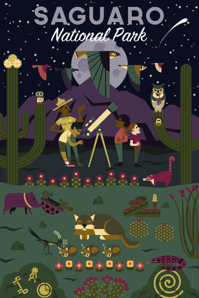 サワロ国立公園国立公園、アリゾナ州 – Night Time幾何 36 x 54 Giclee Print LANT-79476-36x54 36 x 54 Giclee Print  B06VXBJW1S