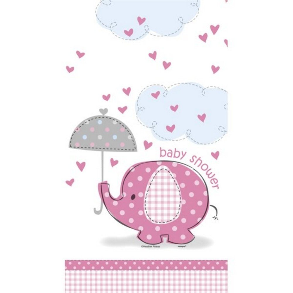Unique Party Umbrellaphants Baby Shower Pink Tablecover (One Size) (Pink/White)