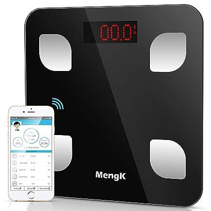 Báscula de Baño Digital, MengK Bluetooth Precisión Escalas de Grasa, 150KG/330Lb Báscula Grasa Corpora con App, con Análisis Corporal de Peso, Índice ...
