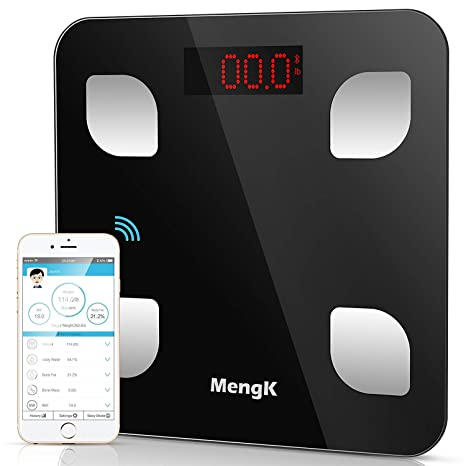 Báscula de Baño Digital, MengK Bluetooth Precisión Escalas de Grasa, 150KG/330Lb Báscula