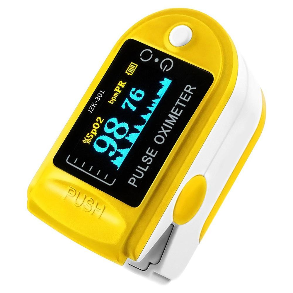 niceEshop (TM) Oxímetro de pulso de dedo Medidor de oxígeno de dedo con monitor de frecuencia de pulso, color amarillo