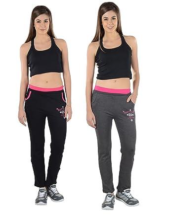 590ce7b8b9653 2Day Women's Cotton Track Pant (Pack of 2) (2DE TP2 06.1_Free Size_Multi