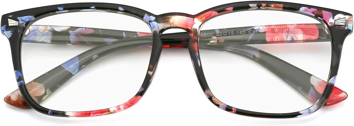 Slocyclub Blue Light Blocking Glasses Vintage Nerd Square Eyeglasses for Women Men