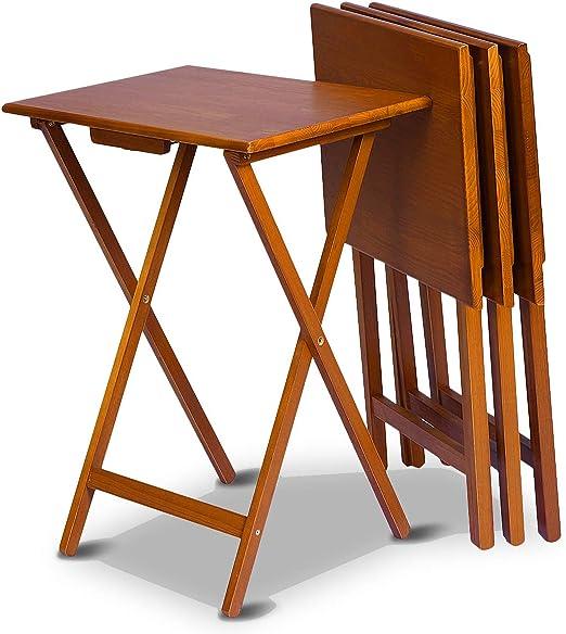 Costway 4er Klapptisch Holz Beistelltisch Balkontisch Holztisch
